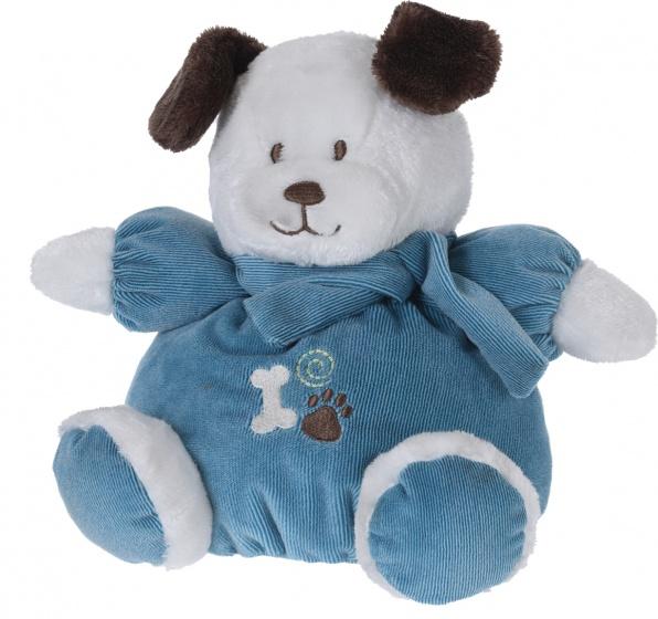 Tender Toys knuffelhond met kleren en sjaal 40 cm wit blauw