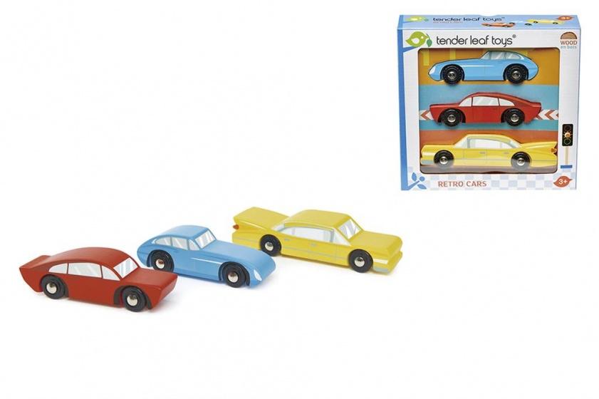 Tender Toys retro speelgoed auto's junior 3 delig blauw/rood/geel
