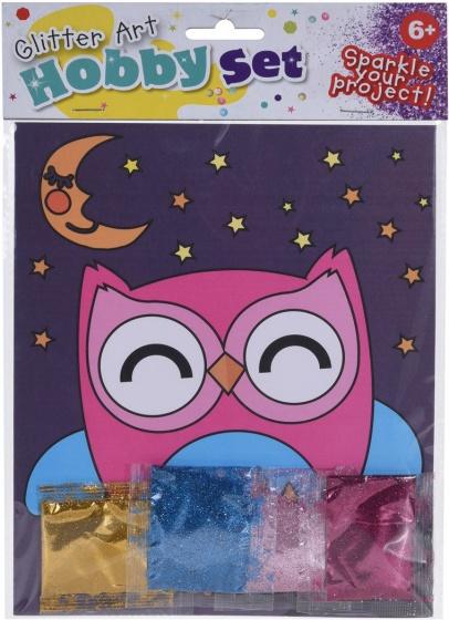 Tender Toys uil tekening met glitter 21 cm