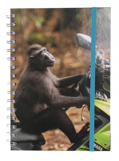 The Comedy Wildlife notitieboek A5 aap op brommer