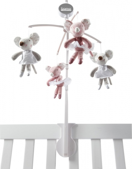 Tiamo muziekmobiel balletmuis 37 cm roze/grijs kopen