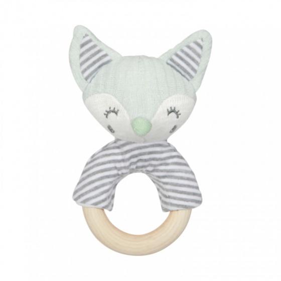 Tiamo rammelaar Foxy Fox 15 cm mintgroen grijs