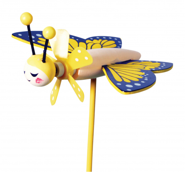 tib windmolen Butterfly Friends junior 27 cm hout geel