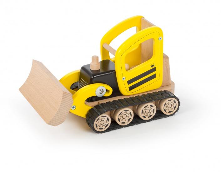 Tidlo Houten Bulldozer 15 x 23 x 12,5 cm geel