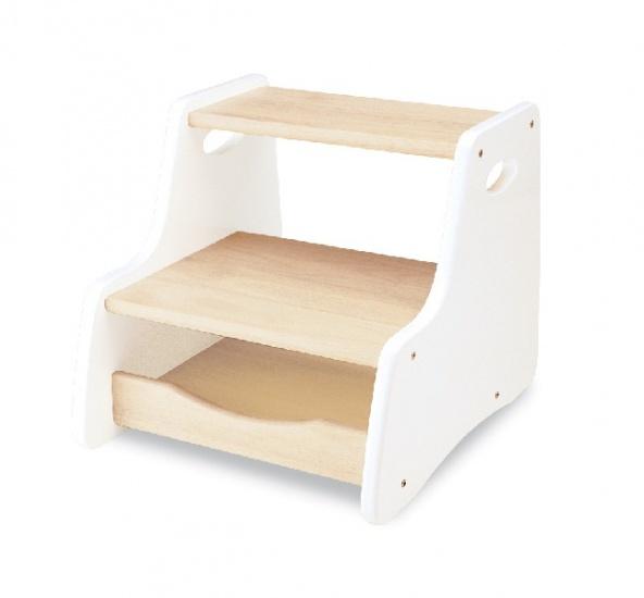 Tidlo Houten Trapstoel met opbergvak 39 x 33 x 32 cm wit