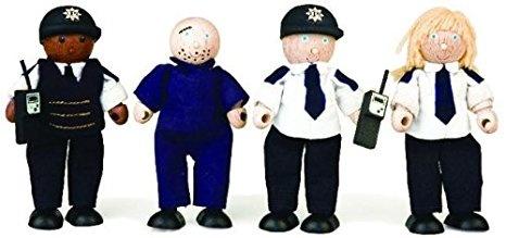 Tidlo Politieagenten en dief hout 11 cm zwart 4 stuks