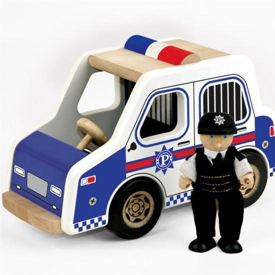 Tidlo Politiewagen hout 11 x 25 x 14 cm blauw