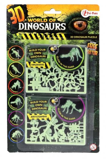 Toi Toys 3D puzzel glow in the dark diplodocus & ankylosaurus