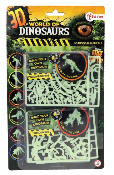 Toi Toys 3D puzzel glow in the dark parasaurolophus & stegosaurus