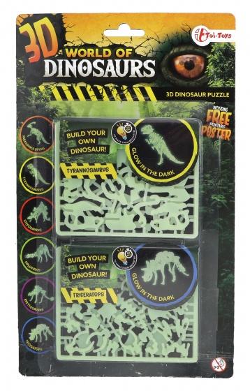 Toi Toys 3D puzzel glow in the dark tyrannosaurus & triceratops