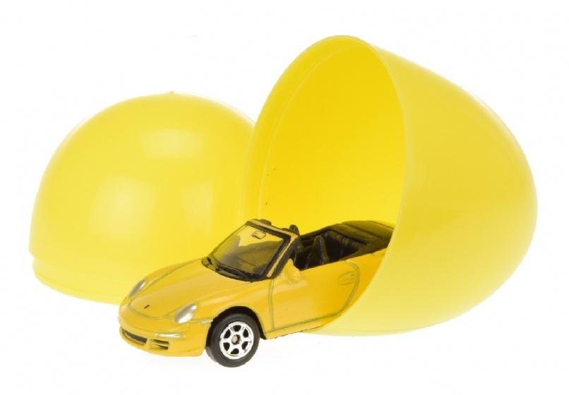 Toi Toys auto in verrassingsei 6 cm geel