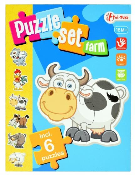 Toi Toys boerderij puzzelset incl 6 puzzels