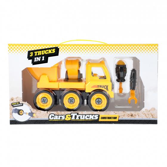 Toi Toys Cars&trucks 3 in 1 DIY jongens geel
