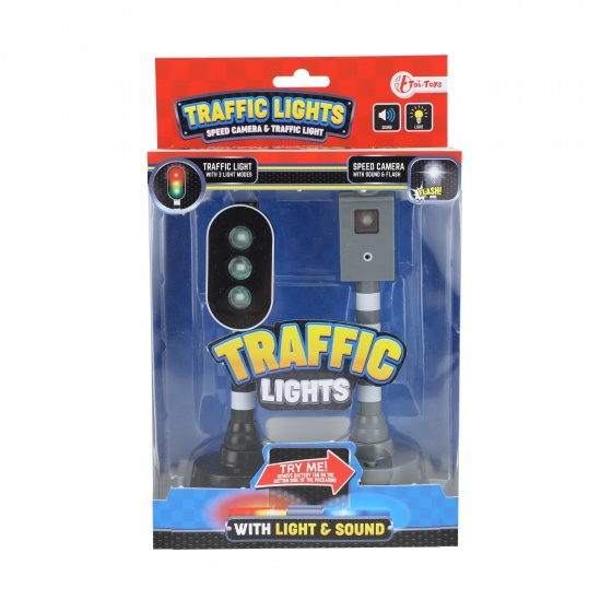 speed camera and traffic light with light and sound black 15 cm