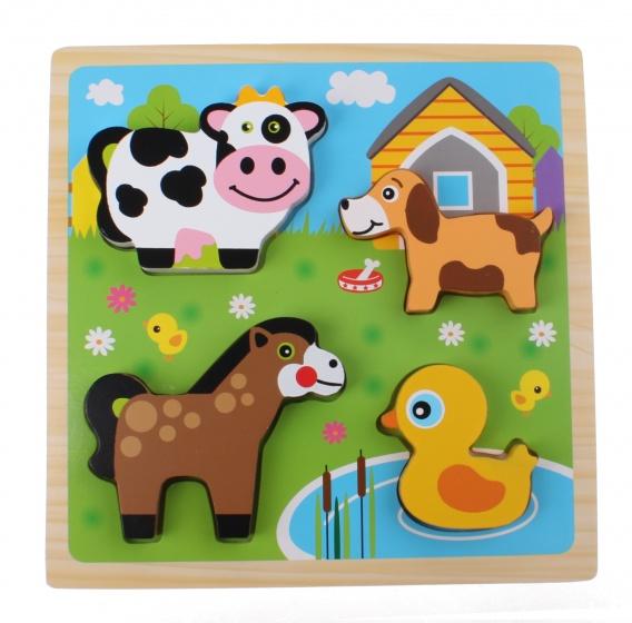 Toi Toys houten vormenpuzzel boerderij 22 cm 5 stukjes