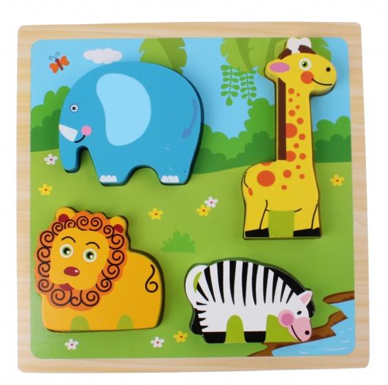 Toi Toys houten vormenpuzzel dierentuin 22 cm 5 stuks
