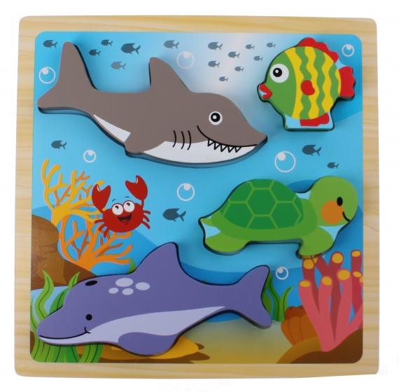 Toi Toys houten vormenpuzzel oceaan 22 cm