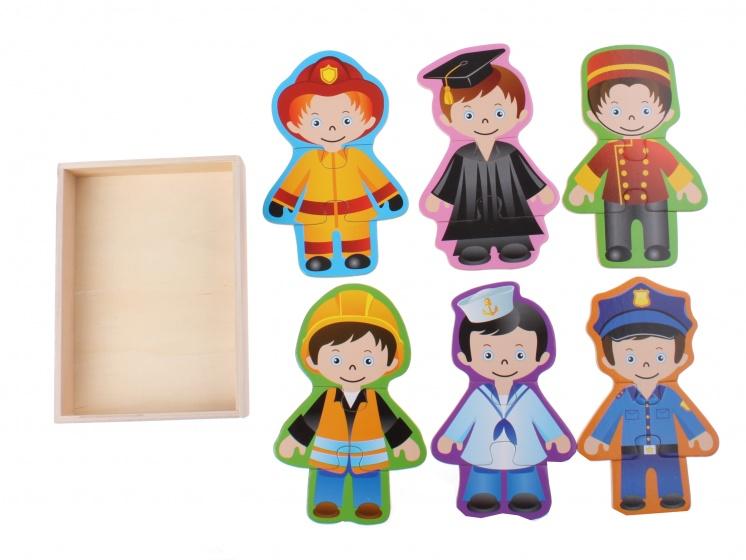 Toi Toys houten legpuzzel verkleedpoppen 19 delig jongens
