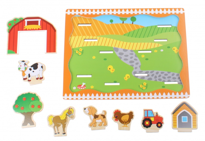 Toi Toys houten plug and play puzzel boerderij 9 delig