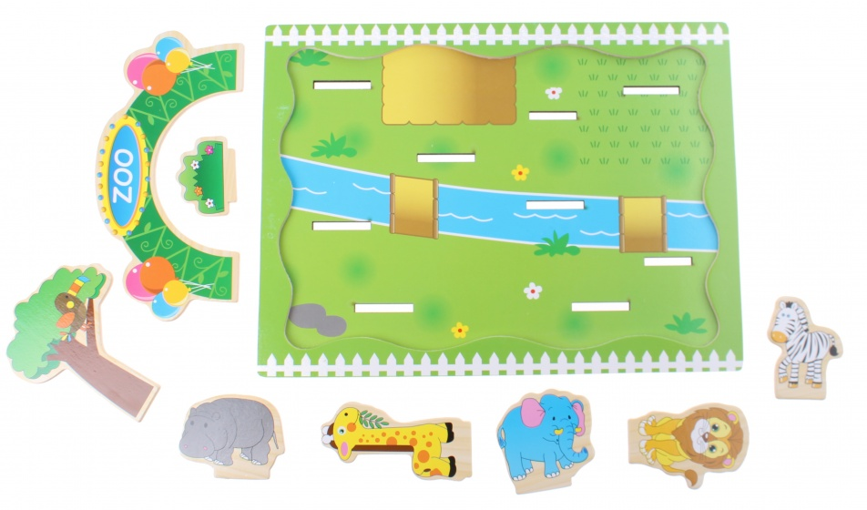 Toi Toys houten plug and play puzzel dierentuin 9 delig