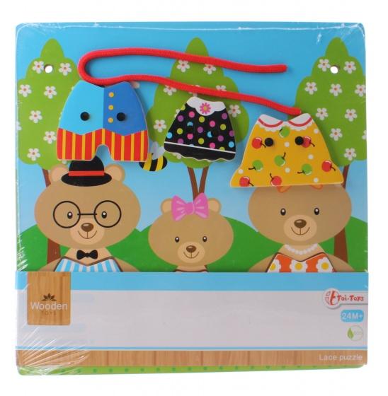 Toi Toys houten rijg de kleertjes aan elkaar puzzel 7 delig