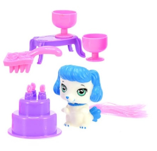Toi Toys huisdier in trolleyset 7 delig roze 17 cm