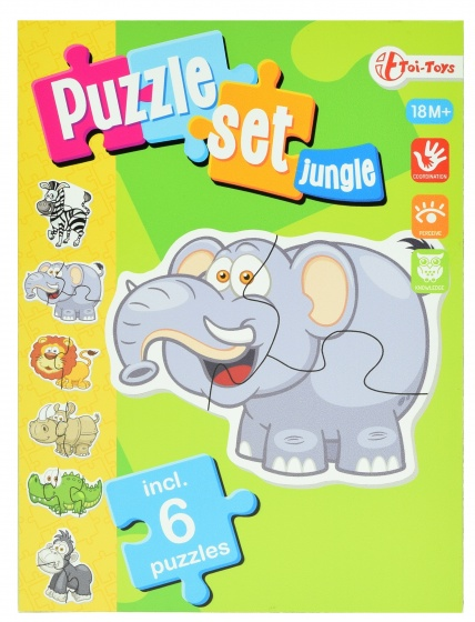 Toi Toys jungle puzzelset incl 6 puzzels
