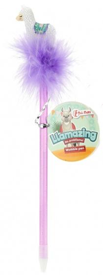 Toi Toys lama pen met veren paars 22 cm