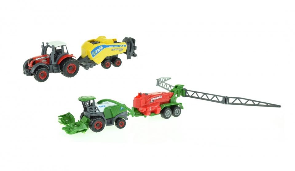 Toi Toys landbouwvoertuigen set 4 delig 16 cm groen/rood