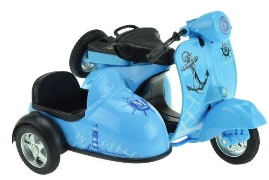 Toi Toys Metal Pull back motor met zijspan blauw 11,5 cm