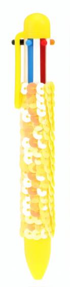 Toi Toys balpen Pailletten 6 kleuren inkt meisjes geel
