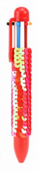Toi Toys balpen Pailletten 6 kleuren inkt meisjes rood