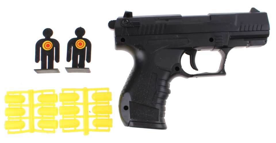 Toi Toys politie pistool zwart 16 cm 15 delig