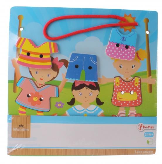 Toi Toys rijg de kleertjes aan elkaar houten puzzel 7 delig