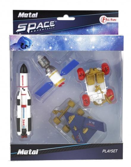 Toi Toys speelset ruimte raket en rover 16 cm