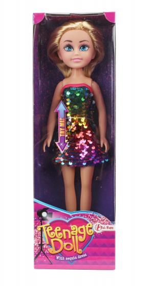 Toi Toys tienerpop paillettenjurk meisjes rubber blond