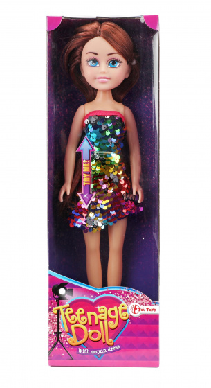 Toi Toys tienerpop paillettenjurk meisjes rubber brunette