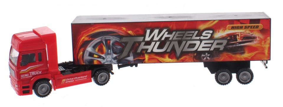 Toi Toys Transporter Truck met oplegger rood 30 cm