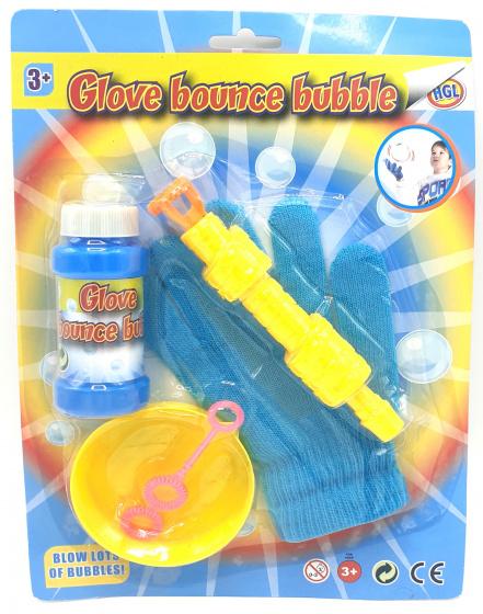 TOM bellenblaasset met handschoen junior blauw/geel 5 delig
