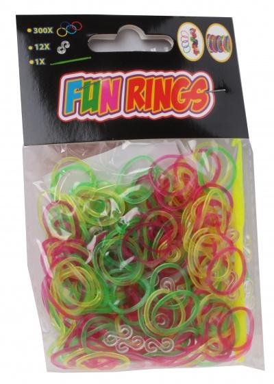 TOM Fun Rings armband vlechten geel/groen/paars 313 delig