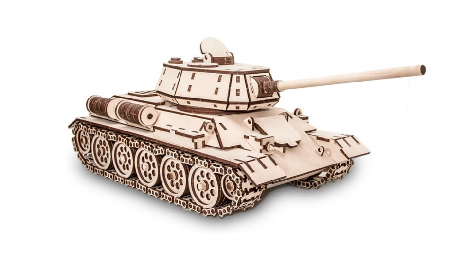 Eco Wood Art houten 3D puzzel Tank 49 cm blank 600 delig