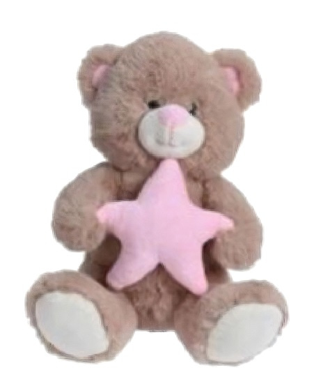 teddy bear star junior 25 cm plush brown/pink