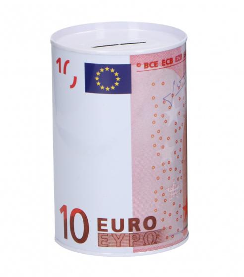 TOM spaarpot 10 euro 12,5 x 8 cm wit/roze