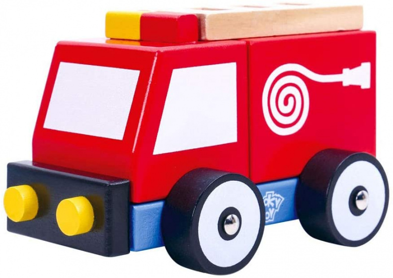 Tooky Toy fire engine boys 13 cm wood red 3-piece