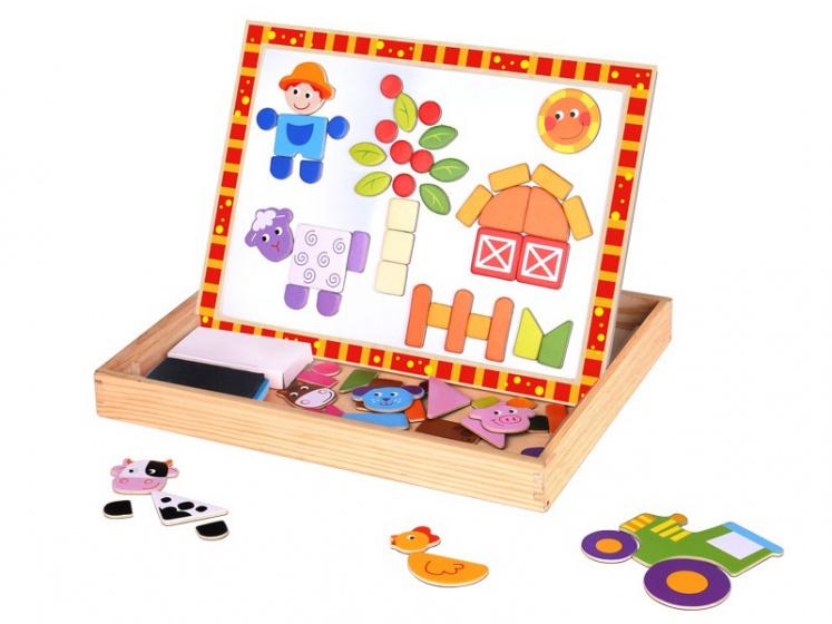 Tooky Toy magneetpuzzel junior 29,5 x 22 cm hout oranje/wit