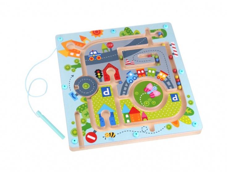 Tooky Toy magnetisch doolhof stad 28,5 cm hout lichtblauw