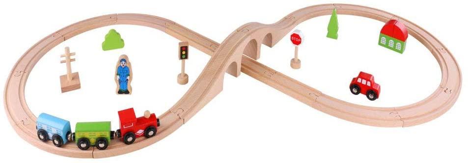 Tooky Toy treinset junior 103 cm hout 30 delig kopen