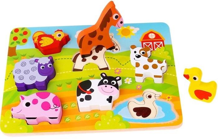 Tooky Toy vormenpuzzel Boerderij junior hout 7 stukjes