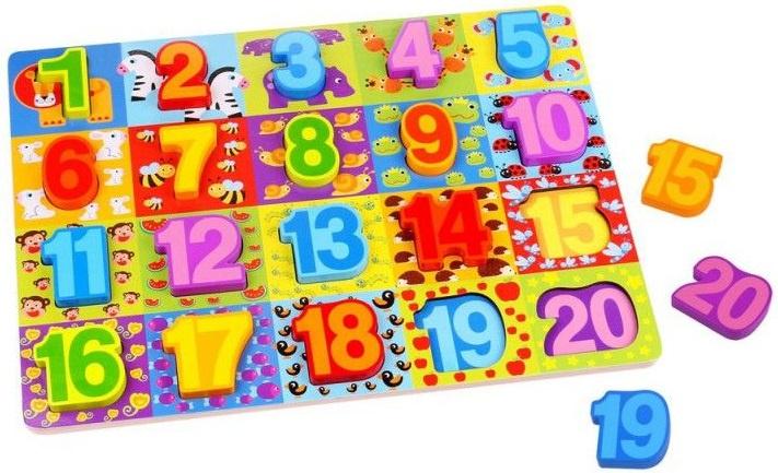 Tooky Toy vormenpuzzel Nummers junior hout 20 stukjes