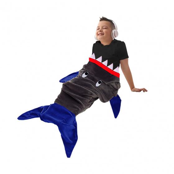 Totum deken haaienstaart polyester grijs/ blauw